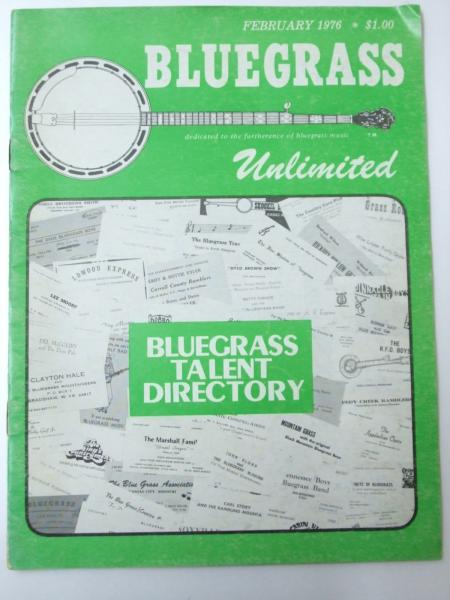 Bluegrass Unlimted February 1976 Bluegrass Talent Directory