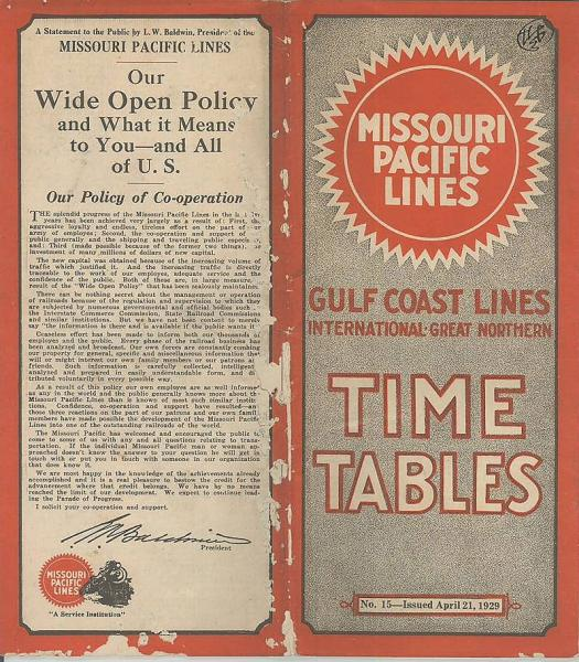 英 時刻表 missouri pacific lines time tables gulf coast lines 有