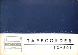 OWNER'S INSTRUCTION MANUAL TAPECORDER TC-801(英)