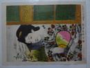 彩色砂目石版 婦女納涼之図 30×41