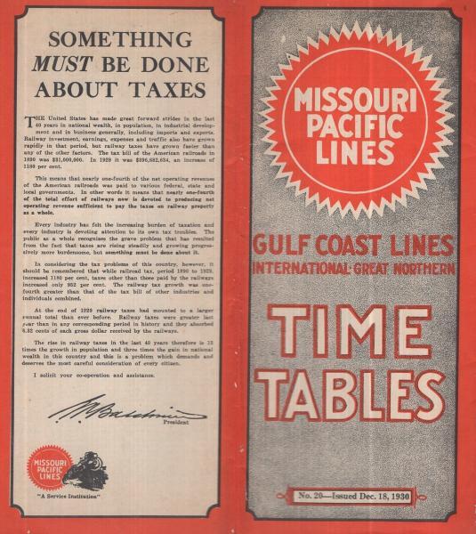 原書 missouri pacific lines timie tables No 20 1930年12月